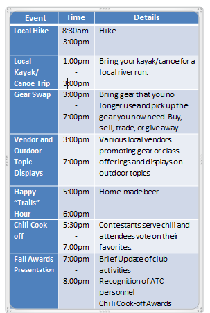 Fall Expo Schedule